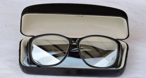 عینک سربی بغلدار مشکی با جعبه